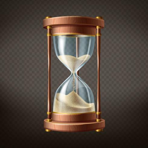 Vector 3d realista reloj de arena con arena corriendo