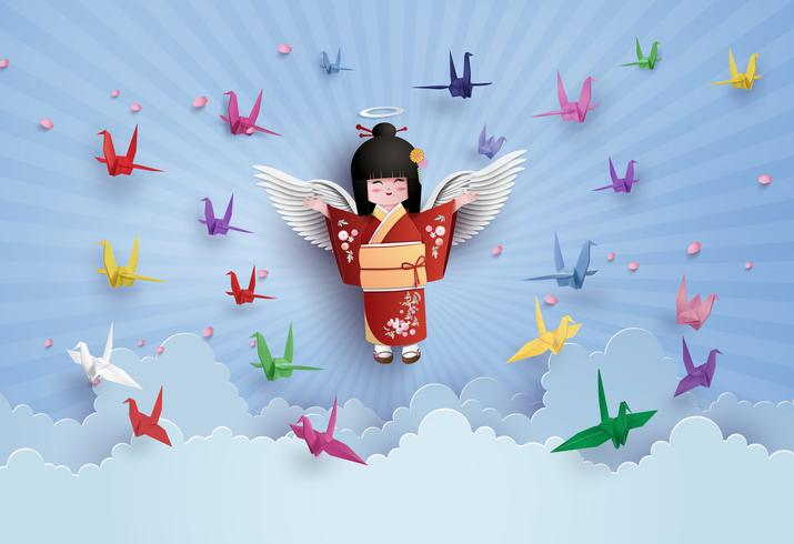 Japanese girls wearing national dress  and origami bird flying on the sky with clound.