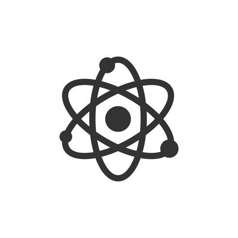 Progettazione dell'illustrazione del modello di logo dell'icona della molecola dell'atomo di chimica. Vettore ENV 10.
