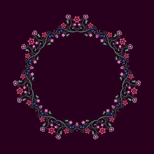 Runder Rahmen aus floralen Elementen. Mandala-Grenze. vektor