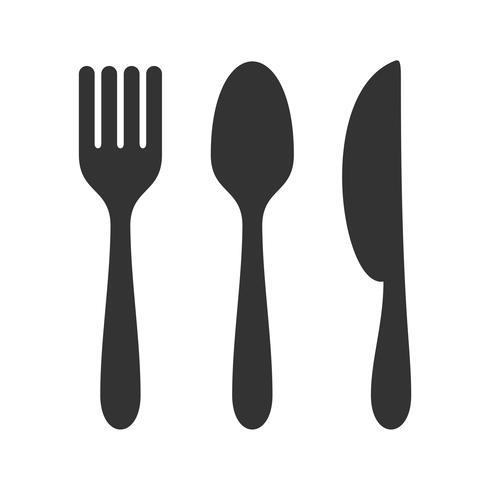 Äta Ikon Logotyp Mall - Gaffel, Kniv, Sked Illustration Design. Vektor EPS 10.