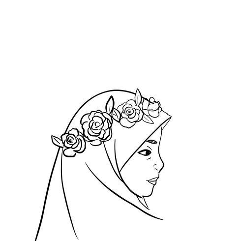 muslim girls lineart vector illustration