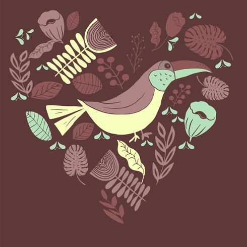 Scandinavian folk art pattern with birds and flowers  vector