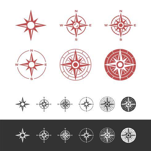 Définir Compass Rose Icône Logo Modèle Illustration Design. Vecteur EPS 10.