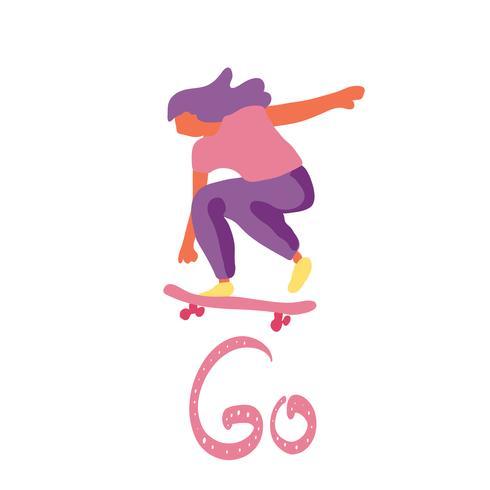 Stijlvolle girl skater in jeans en sneakers. Skateboard. Vector illustratie voor een briefkaart of een poster, afdrukken voor kleding. Straatculturen.