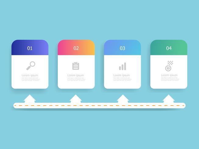abstrakte horizontale Zeitleiste Infografiken 4 Schritte