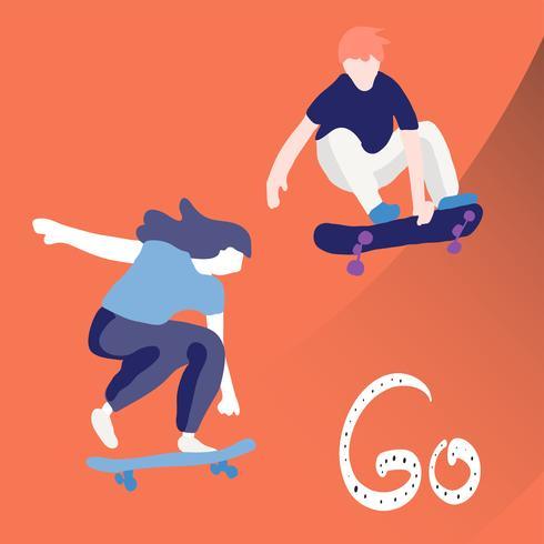 Patineur élégant en jeans et baskets. Planche à roulette. Illustration vectorielle pour une carte postale ou une affiche, impression de vêtements. Cultures de rue.