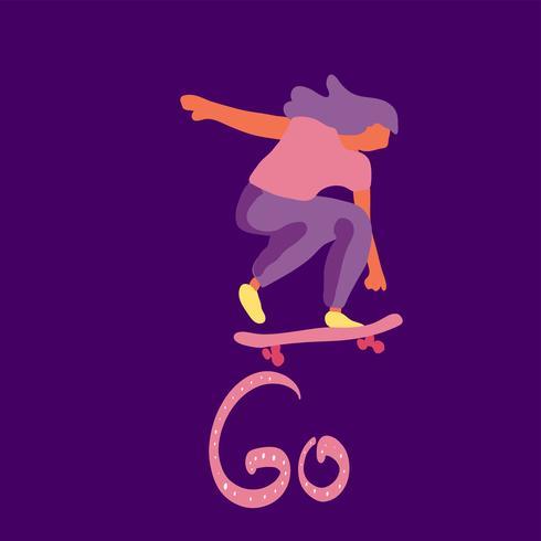 Elegante patinador en jeans y zapatillas. Patineta. Ilustración vectorial para una postal o un póster, impresión para la ropa. Culturas callejeras. vector