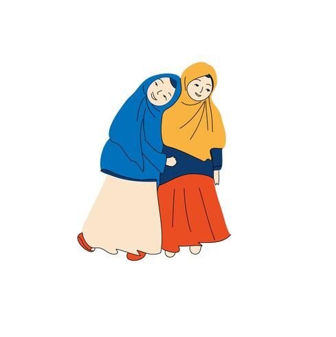 muslimsk tjejer vektor illustration