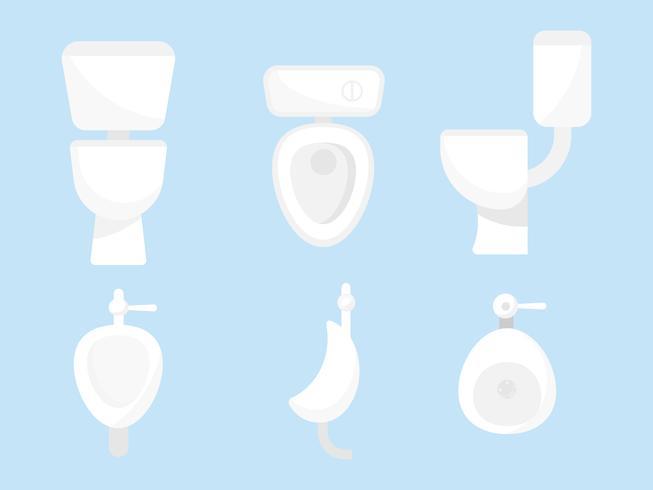 set wc-pot en urinoir voor mannen vector