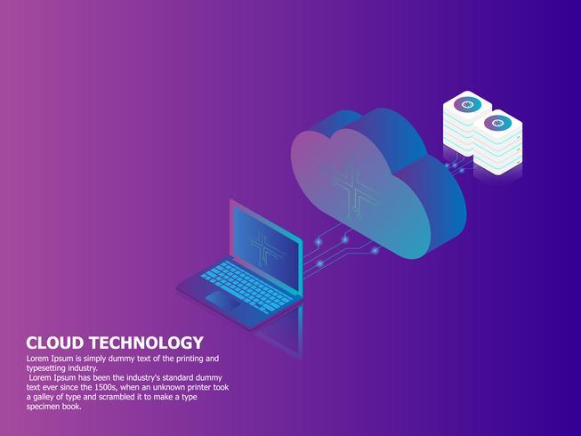 technologie informatique en nuage avec ordinateur portable vecteur