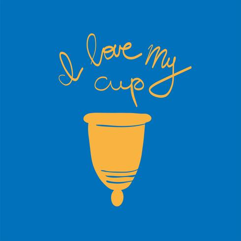 women's menstrual cup with flowers in handdrawn style. Lettering -I love my cup