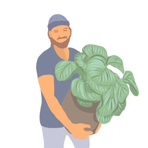 Retrato estilo joven con plantas ilustración vectorial