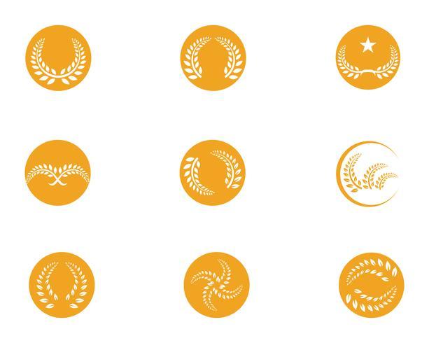 ícones de modelo de logotipo e símbolos de refeição de arroz de agricultura