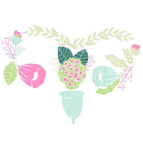 vrouwen menstruatiecup met bloemen in handgetekende stijl. Belettering -Ik hou van mijn beker