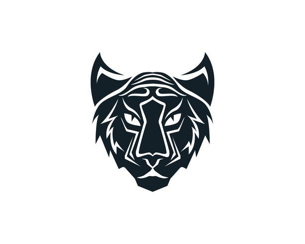 Tigerhauptlogomaskottchen auf weißem Hintergrund