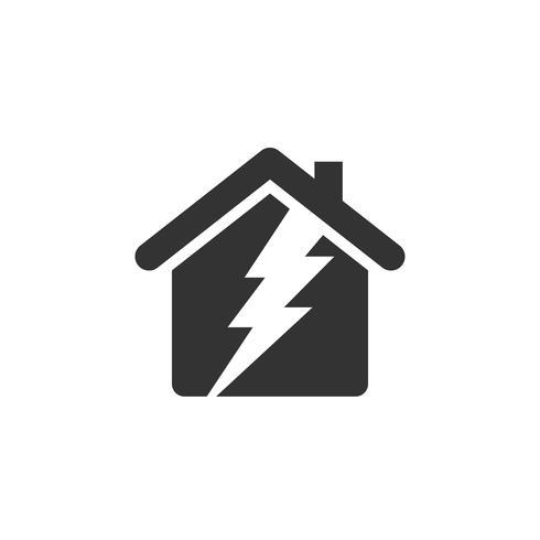 Thunderbolt, Home eller House Icon Logo Mall Illustration Design. Vektor EPS 10.