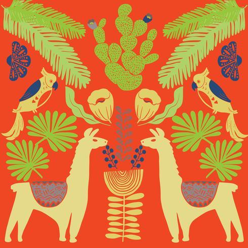 Illustratie met lama en cactus planten. Vector naadloos patroon op botanische achtergrond. Wenskaart met alpaca.