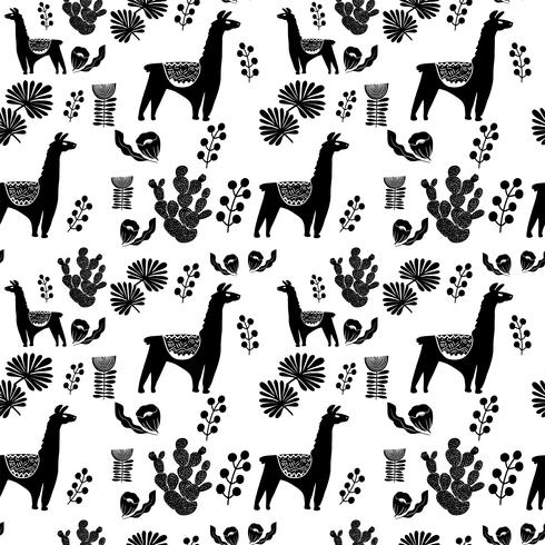 Illustration with llama and cactus plants. Vector seamless pattern on botanical background. Greeting card with Alpaca. Seamless pattern
