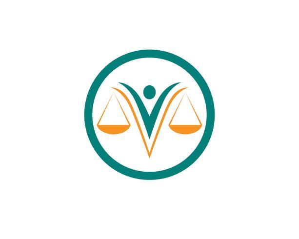 Ícones de modelo de logotipo e símbolos de advogado de justiça