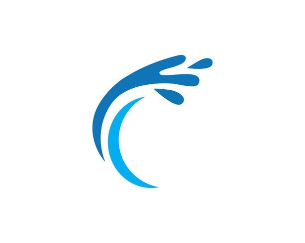 splash eau, symbole de la vague et icône Logo Template vecteur