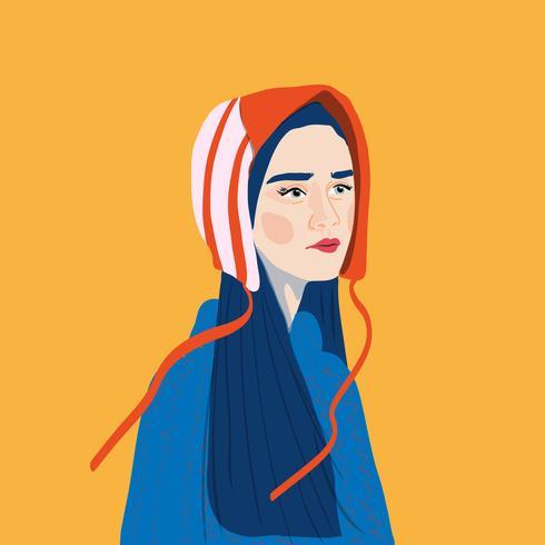 Retrato estilo niña mujer joven moda con sombrero vector ilustración