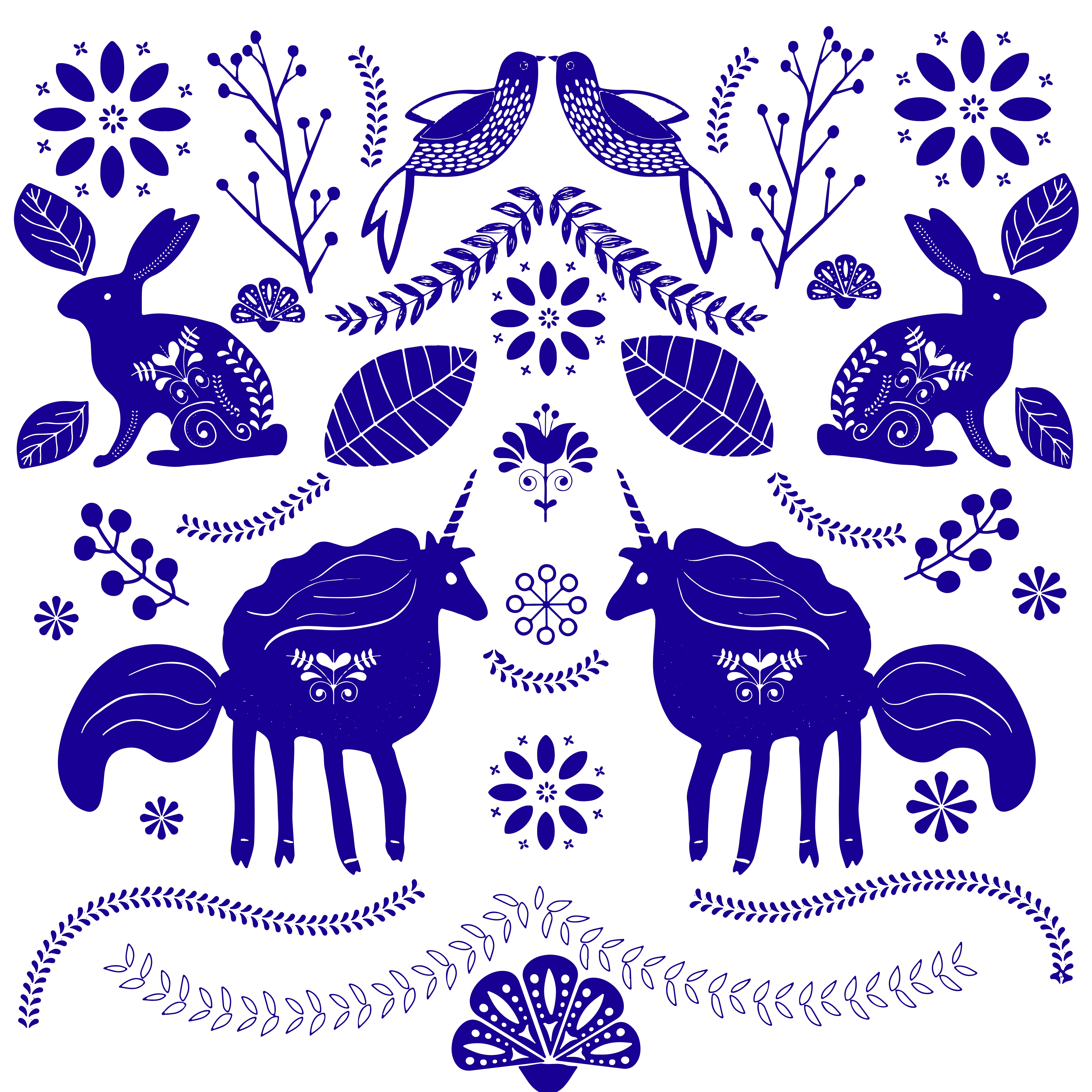 Cute Magic Unicorns On A Floral Background Vector Romantic Hand