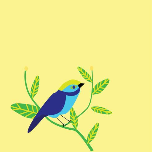 cute bird on twig pattern vector