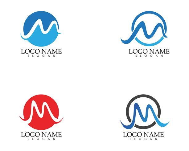 M letter wave Logo Template vector illustration
