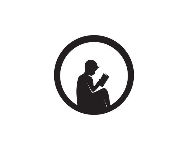 Libro de lectura logo y símbolos silueta ilustración negro.