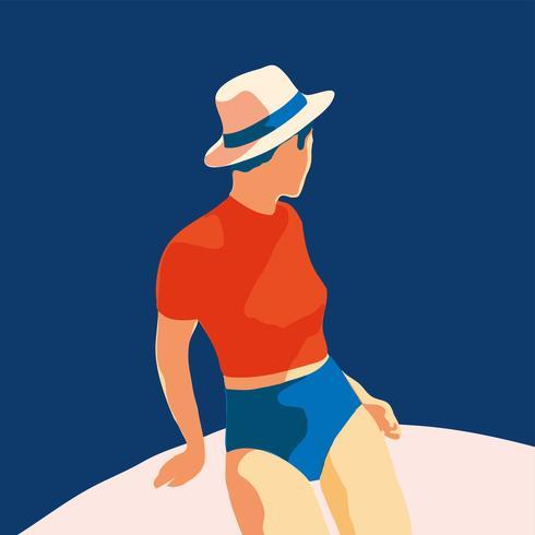 portret stijl meisje jonge vrouwen mode met hoed vectorillustratie