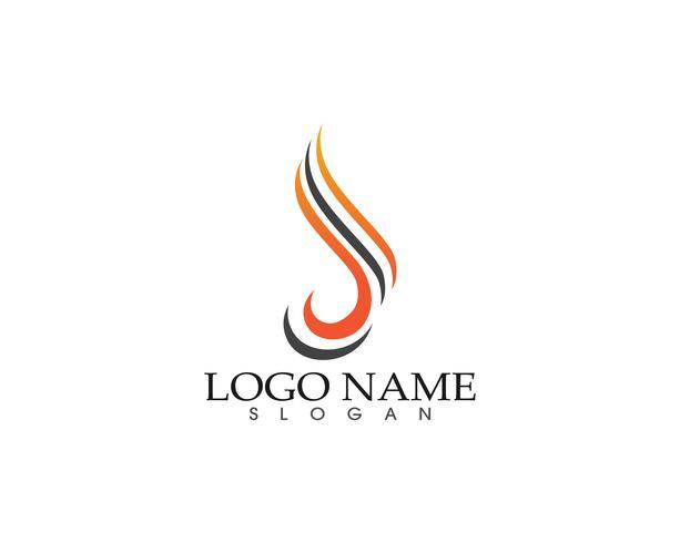 Plantilla de los iconos de los símbolos de la insignia de la llama de la naturaleza del fuego