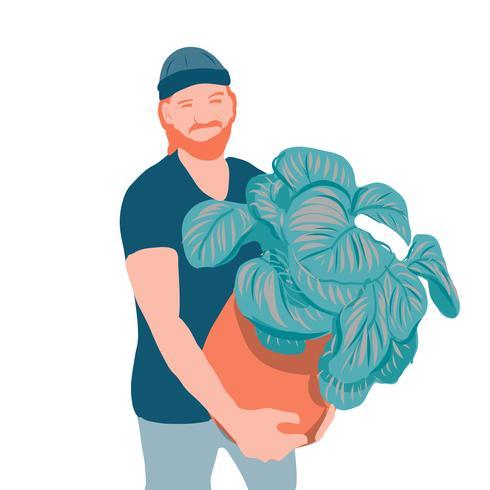 giovane di stile del ritratto con l'illustrazione di vettore delle piante