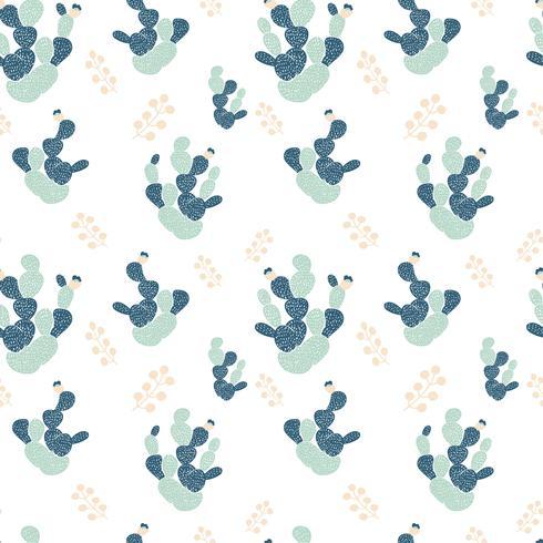 Dibujado a mano patrón sin costuras decorativas con cactus. en estilo escandinavo. Diseño tropical de moda para textil.