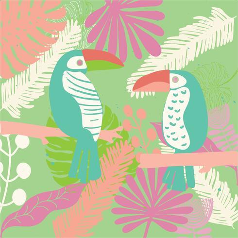 uccelli tropicali Tucano colorato e luminoso vettore