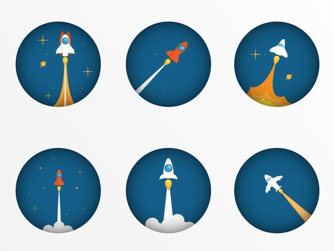 conceito de inicialização de lançamento de foguete vetor