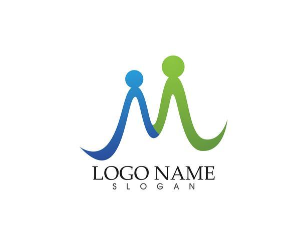 Ilustración de vector de plantilla de logotipo de la carta de cuidado familiar M