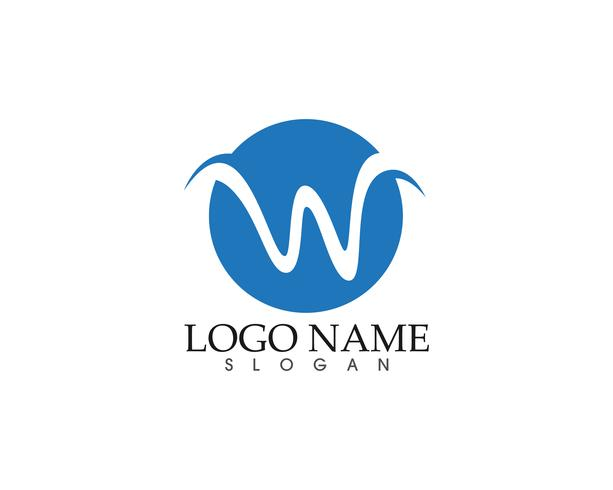 W letter wave Logo Template vector illustration