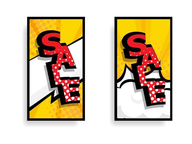 livro de banda desenhada de rótulo de venda vetor