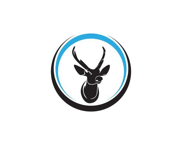 Head deer animals logo ícones de silhouete preto vetor