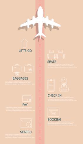 airplane flights information timeline infographics vector