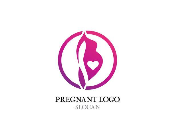 Illustrazione di icona di vettore del modello di logo in gravidanza