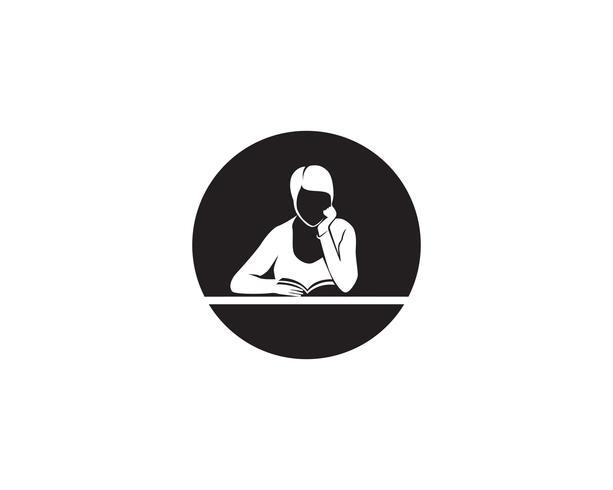 Reading Book logo and symbols Silhouette Illustration black  .