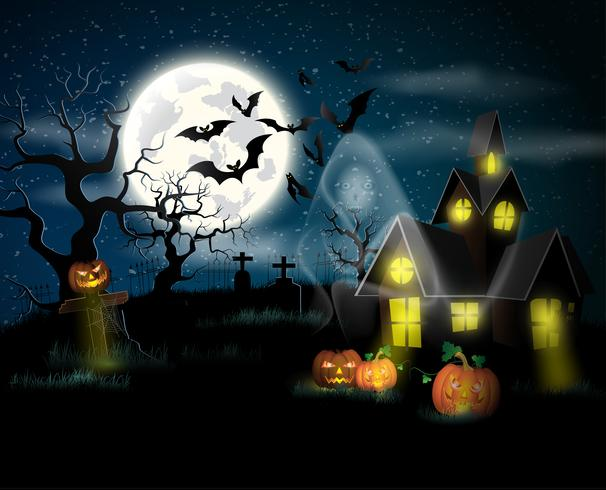 Poster de feliz dia das bruxas. Ilustração vetorial