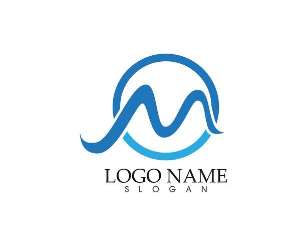 Ilustración de vector de plantilla de logotipo de onda de letra M