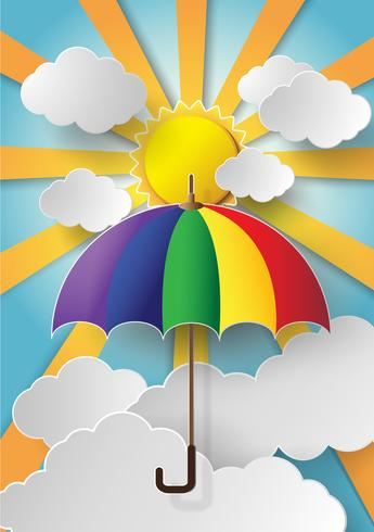 colorful umbrella flying high in the air vector