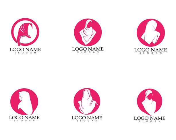 logotipo e símbolos da silhueta da mulher do hijab