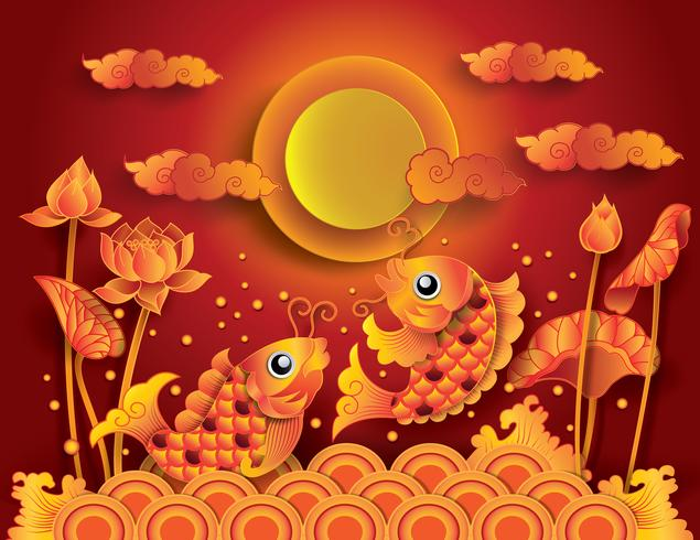 Golden koi fish with fullmoon vector