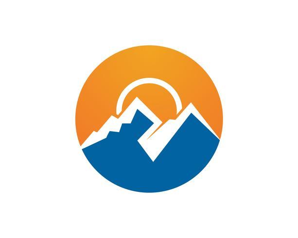 Berg en water Logo Business Template Vector