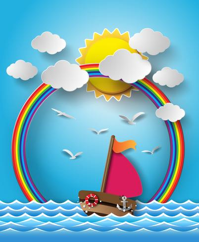 Sailing boat and cloud with rainbow.